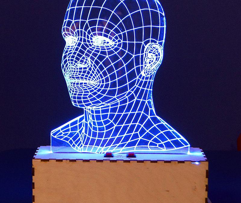 Lampa LED 3D ze sklejki i pleksi