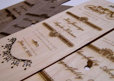 Drewniane etykiety wycięte i wygrawerowane laserem
