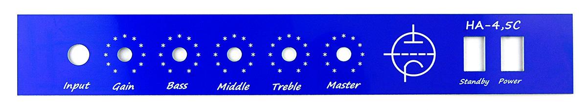 Panel czolowy wzmacniacza wykonany laserem na laminacie grawerskim