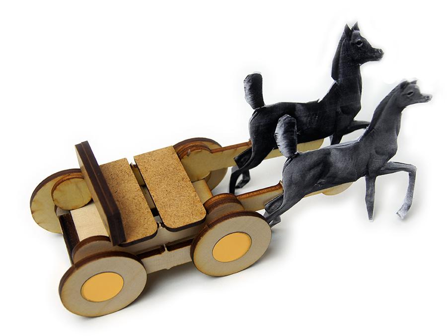 Zabawka/dekoracja wykonana z odpadow po cieciu laserem